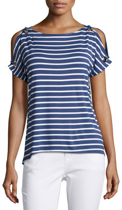 Neiman Marcus Boat-Neck Cold-Shoulder Striped Top, Blue/White $49 thestylecure.com