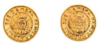 Chanel Winged Shield Medallion Clip-On Earrings