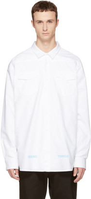 Off-White White Brushed Arrows Shirt $495 thestylecure.com