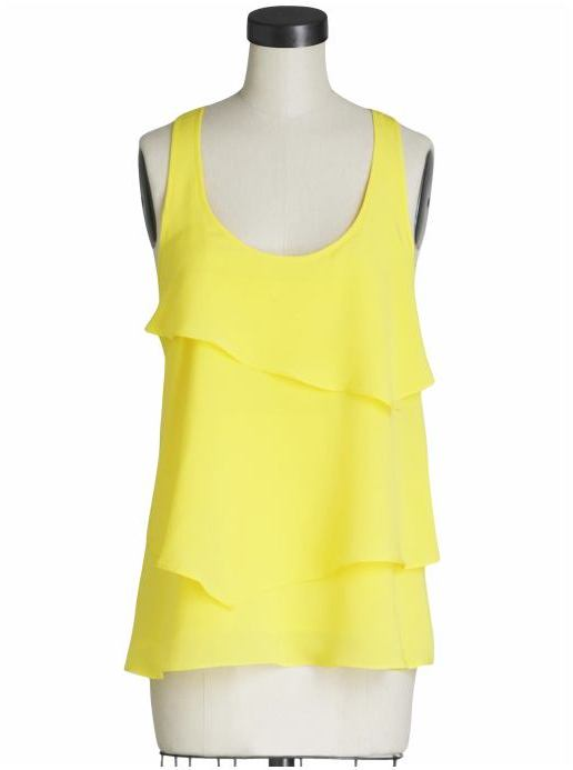 Central Park West Napa Silk Tank with Layered Ruffle