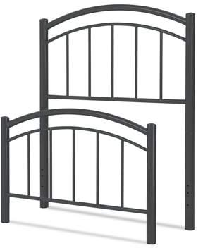 Rails Rylan Fashion Kids Metal Headboard and Footboard Bed Panels with Gently Arced Top and Vertical Spindles, Black Ink Finish, Full