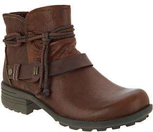 Earth Origins Leather Ankle Boots with Strap- Pandora
