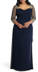 Xscape Evenings Embellished Illusion Sleeve Ruched Gown