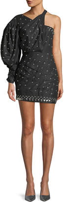 Isabel Marant One-Sleeve Fitted Mini Dress w/ Pearl-Beads & Ring Details