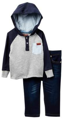 7 For All Mankind Hooded Henley & Jeans 2-Piece Set (Baby Boys)