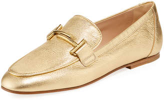 bc2378e25bb Tod s Double T Metallic Leather Loafers