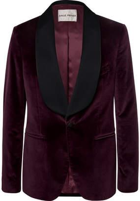 Privee SALLE Burgundy Bori Slim-Fit Satin-Trimmed Cotton-Velvet Tuxedo Jacket