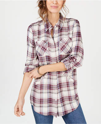 Style&Co. Style & Co Plaid Tab-Sleeve Tunic Top, Created for Macy's