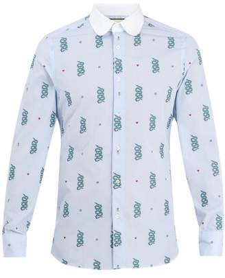 Gucci Motif Jacquard Cotton Shirt - Mens - Blue Multi
