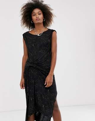 AllSaints snakecharm riviera jersey sleeveless midi dress