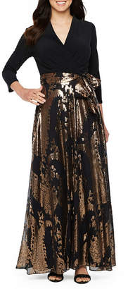 Chetta B BE BY Be by 3/4 Sleeve Belted Evening Gown