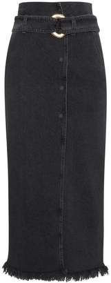 Nanushka frayed denim midi skirt