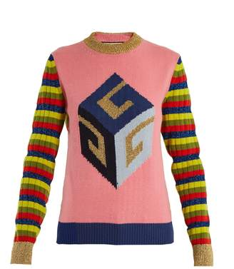 Cube-intarsia striped wool-blend knit sweater