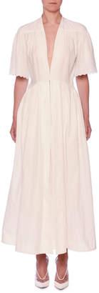 Stella McCartney V-Neck Eyelet Embroidered Midi Dress