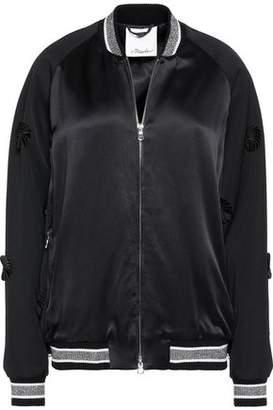 3.1 Phillip Lim Appliquéd Wool-Paneled Satin Bomber Jacket