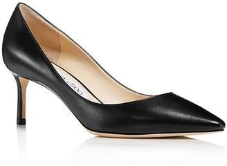 Jimmy Choo Women's Romy 60 Leather Pointed Toe Mid Heel Pumps