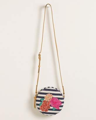 Chico's Chicos Striped Floral-Embroidered Crossbody Bag