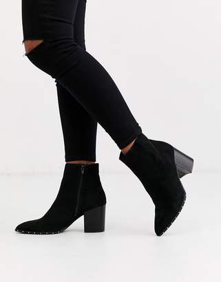 New Look studded rand heeled boot in black