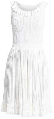 Alaia Falbalas Ruffle Neck A-Line Dress