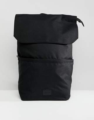 Asos DESIGN backpack in black with top flap and internal laptop pouch