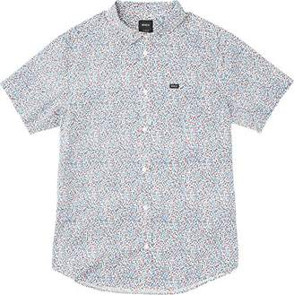 RVCA Men's Happy Thoughts Short Sleeve Woven Button Down Shirt