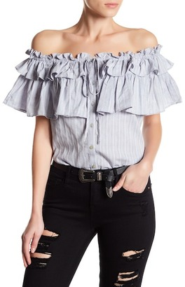 Pleione Embroidered Ruffled Off The Shoulder Blouse $58 thestylecure.com