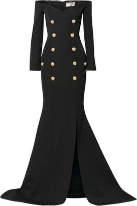 Balmain Off-the-shoulder Button-embellished Grain De Poudre Wool Gown - Black