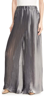 Brunello Cucinelli Lame Pleated Wide-Leg Pants