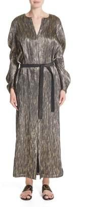 Zero Maria Cornejo Metallic Silk Blend Midi Dress