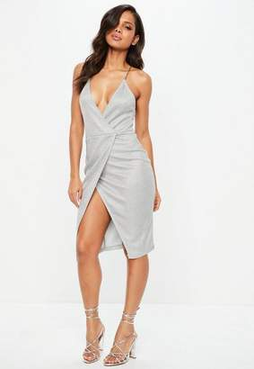 Missguided Silver Chain Strap Metallic Wrap Slip Dress