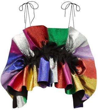 Germanier - Recycled Glitter Ruffle Satin Top - Womens - Black Multi