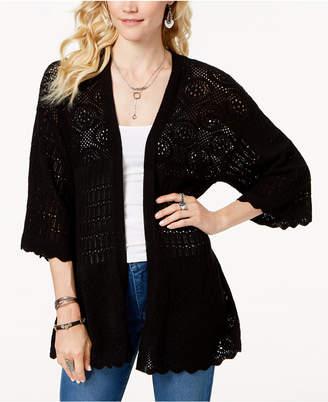 Style&Co. Style & Co Kimono-Sleeve Pointelle-Knit Cardigan