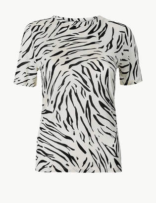 Marks and Spencer PETITE Animal Print Short Sleeve T-Shirt