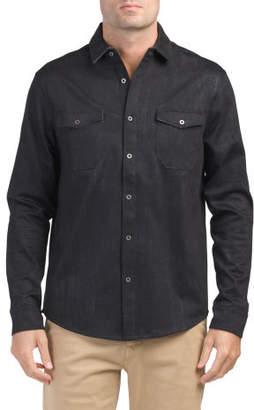 Long Sleeve Button Front Knit Shirt