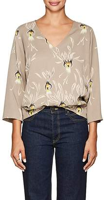 Dries Van Noten Women's Petal-Print Crepe Blouse