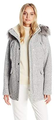 Nautica Women's Novelty Wool Anorak with Faux Fur Trim Hood $80.55 thestylecure.com