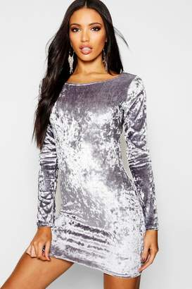 boohoo Ari Crushed Velvet Long Sleeved Bodycon Dress