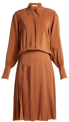 Chloé Pleated Silk Shirtdress - Womens - Light Brown