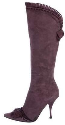 Casadei Suede Knee-High Boots