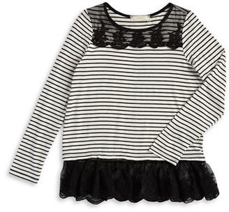 Soprano Girls 7-16 Girls Lace-Trimmed Striped Top $38 thestylecure.com
