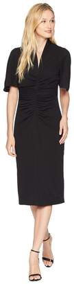 Maggy London Solid Crepe Ruched Novelty Sheath Women's Dress