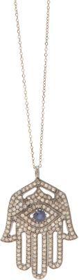 Feathered Soul Diamond & Sapphire Hamsa Pendant Necklace