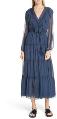 Bluebelle LEE MATHEWS Ruffle Silk Dress