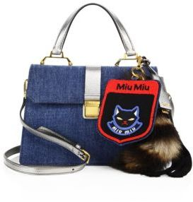 Miu MiuMiu Miu Denim, Metallic Leather & Fur Satchel