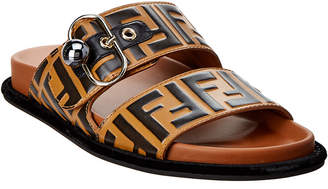 Fendi Ff Logo Leather Double Strap Sandal