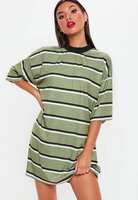 Missguided Khaki Oversized Striped T Shirt Dress