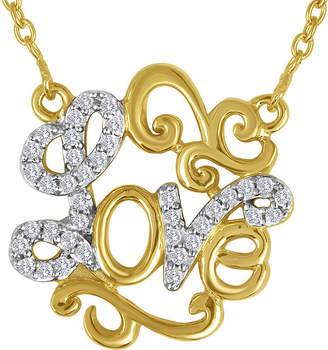 FINE JEWELRY 1/10 CT. T.W. Diamond 14K Yellow Gold Over Sterling Silver Love Script Necklace