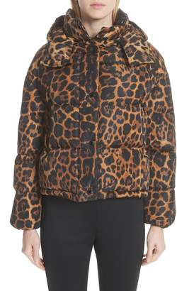 Moncler Caille Leopard Print Down Puffer Jacket