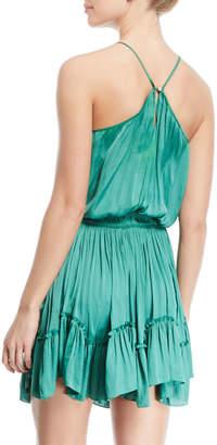 Halston Ruched Halter Mini Dress w/ Flounce Hem