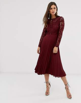 Asos Design DESIGN long sleeve lace bodice midi dress with pleated skirt